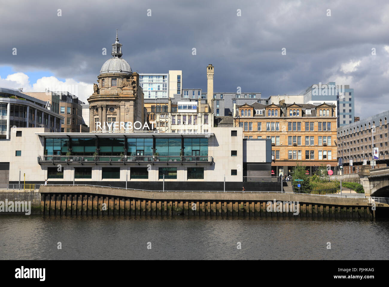 The Grosvenor Casino and Grill Riverboat, on Broomielaw by the River Clyde, in central Glasgow, UK - Stock Image