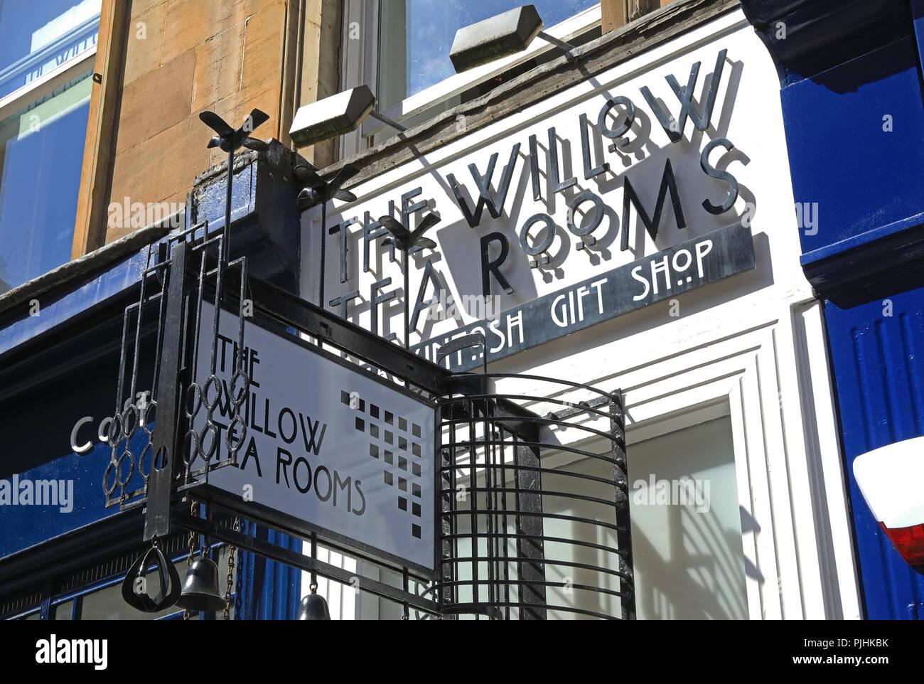 The original Willow Tea Room, designed by Charles Rennie Mackintosh, on Sauchiehall Street, Glasgow, UK - Stock Image