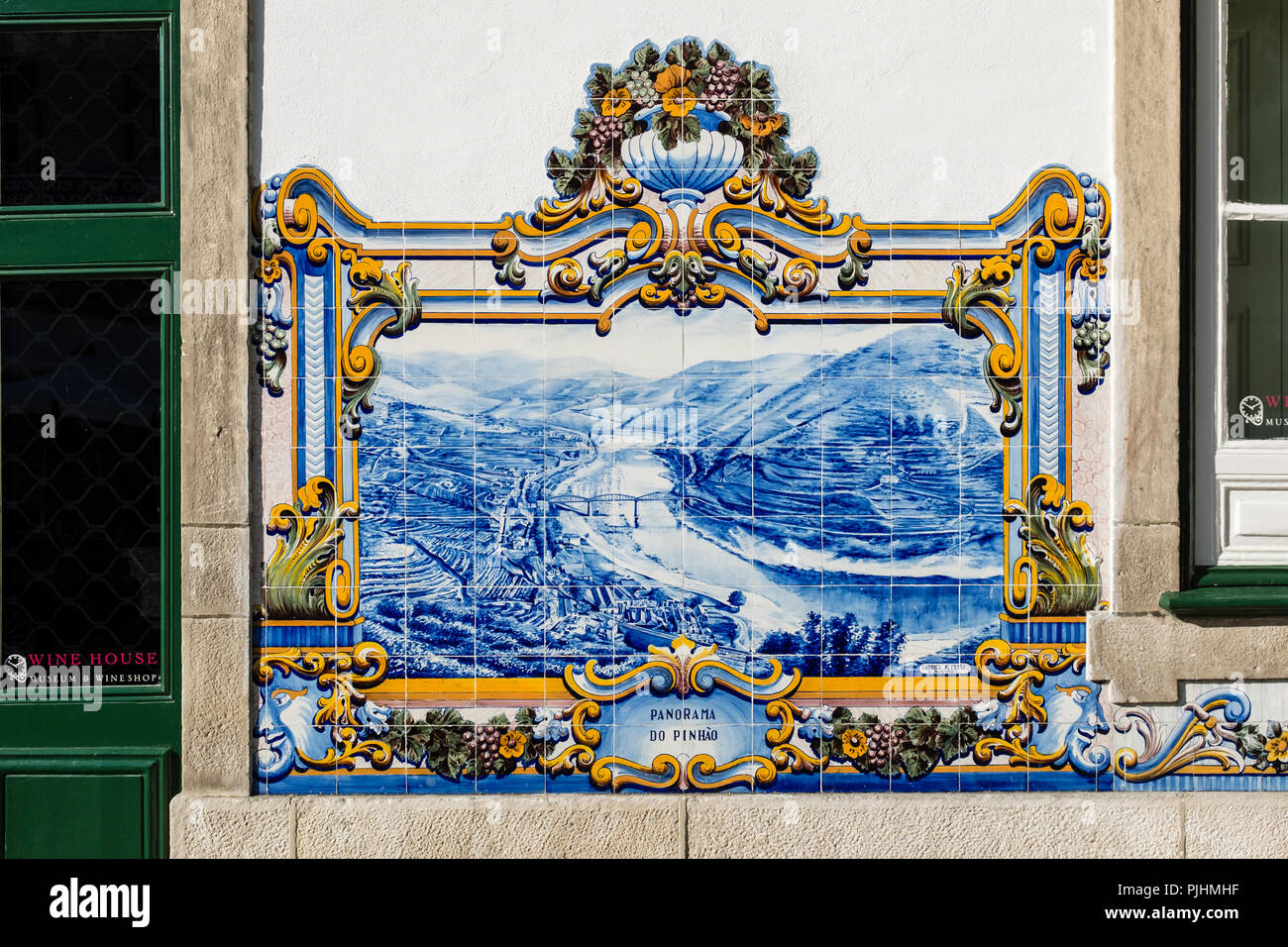 Azulejos tiles at Pinhão train station in the Douro Valley - Stock Image