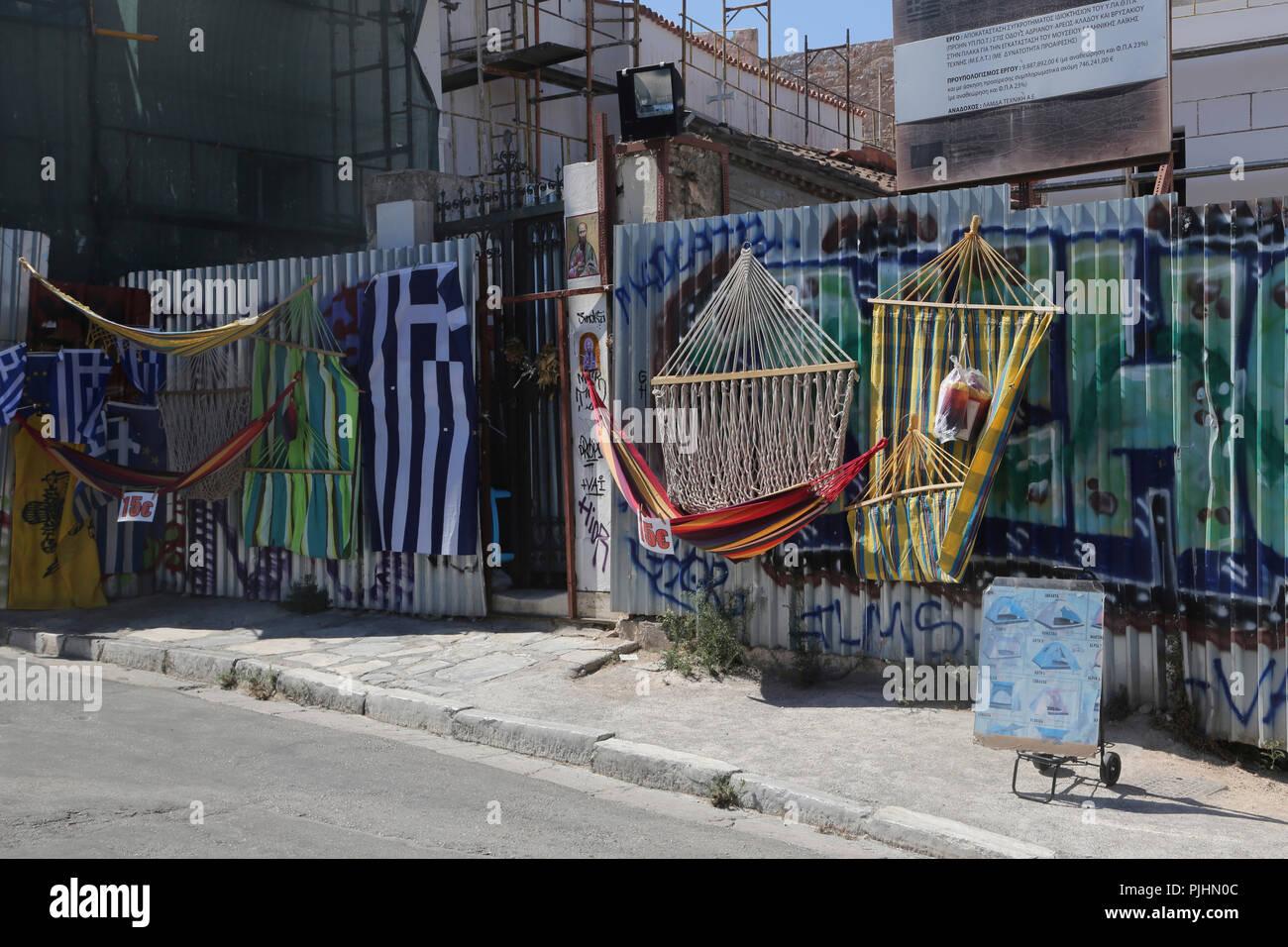 Plaka Athens Greece Greek Hammocks on Sale - Stock Image