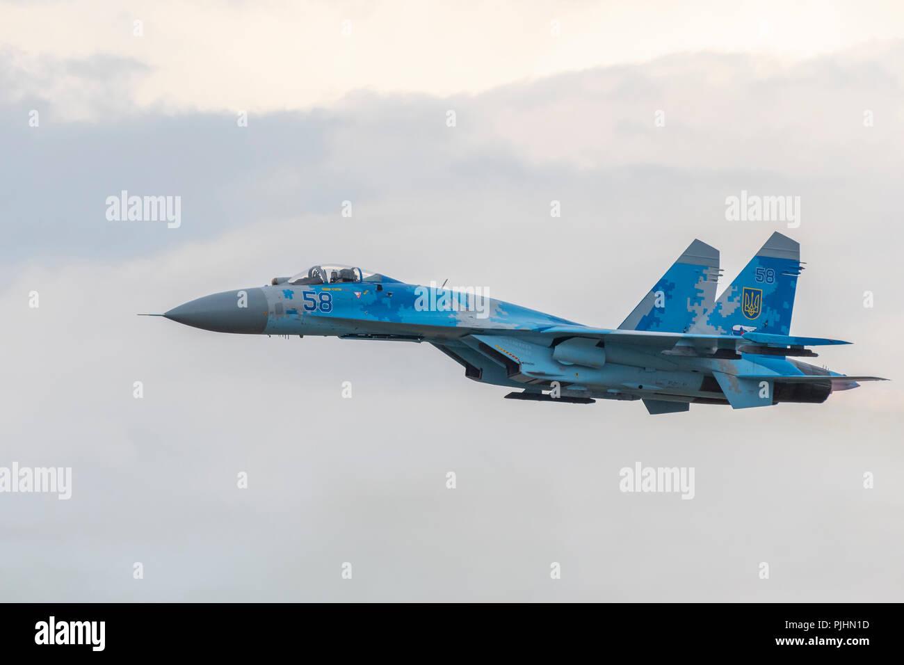 Ukrainian Su-27 Flanker, RIAT 2018, RAF Fairford, UK - Stock Image