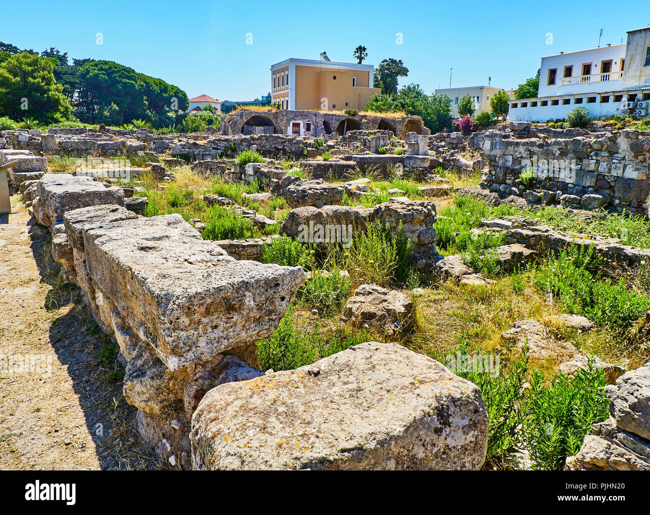 Remains of the Insulae at Ancient Agora of Kos. South Aegean region, Greece. Stock Photo