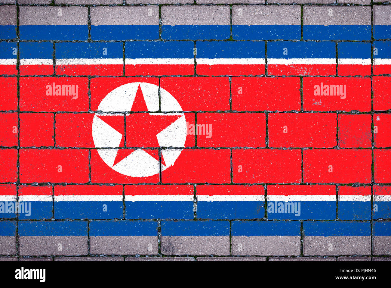 National flag of  North Korea against a background of a stone background covered with moss - Stock Image