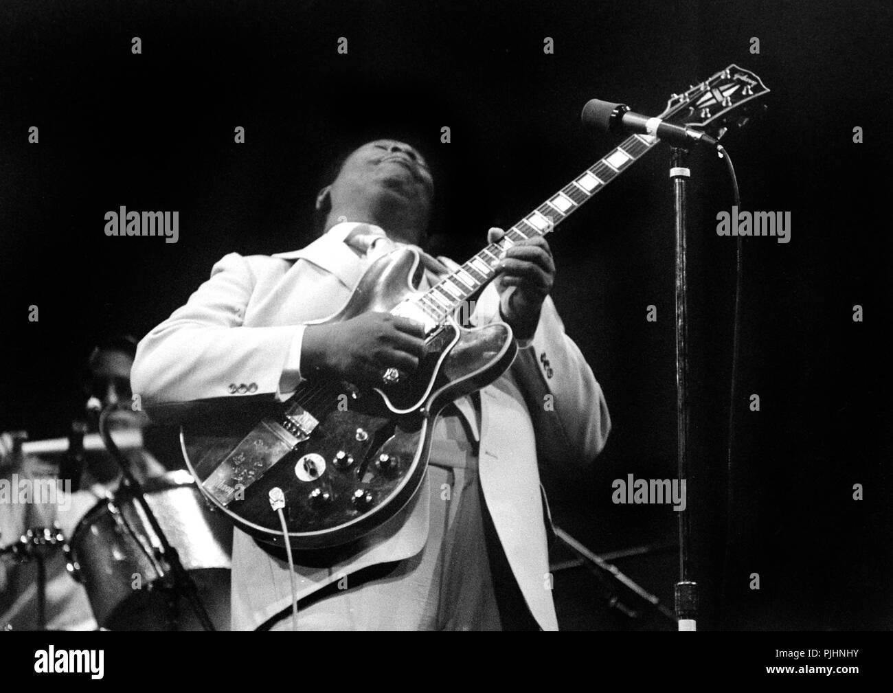 Blues guitarist B.B. King in concert in Wisconsin in 1979. Stock Photo