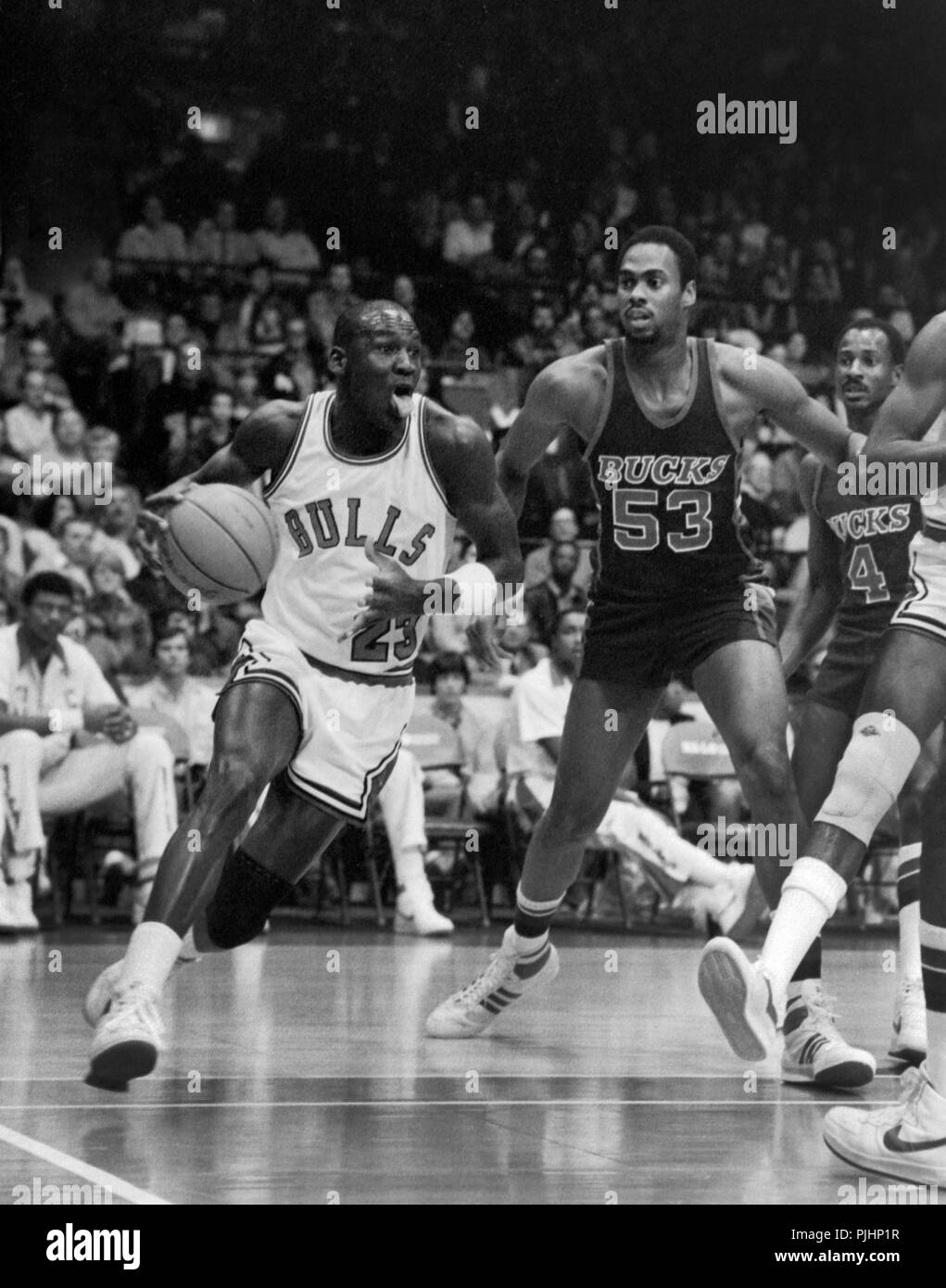 NBA Star Michael Jordan Of The Chicago Bulls In Action Against Milwaukee Bucks 1984