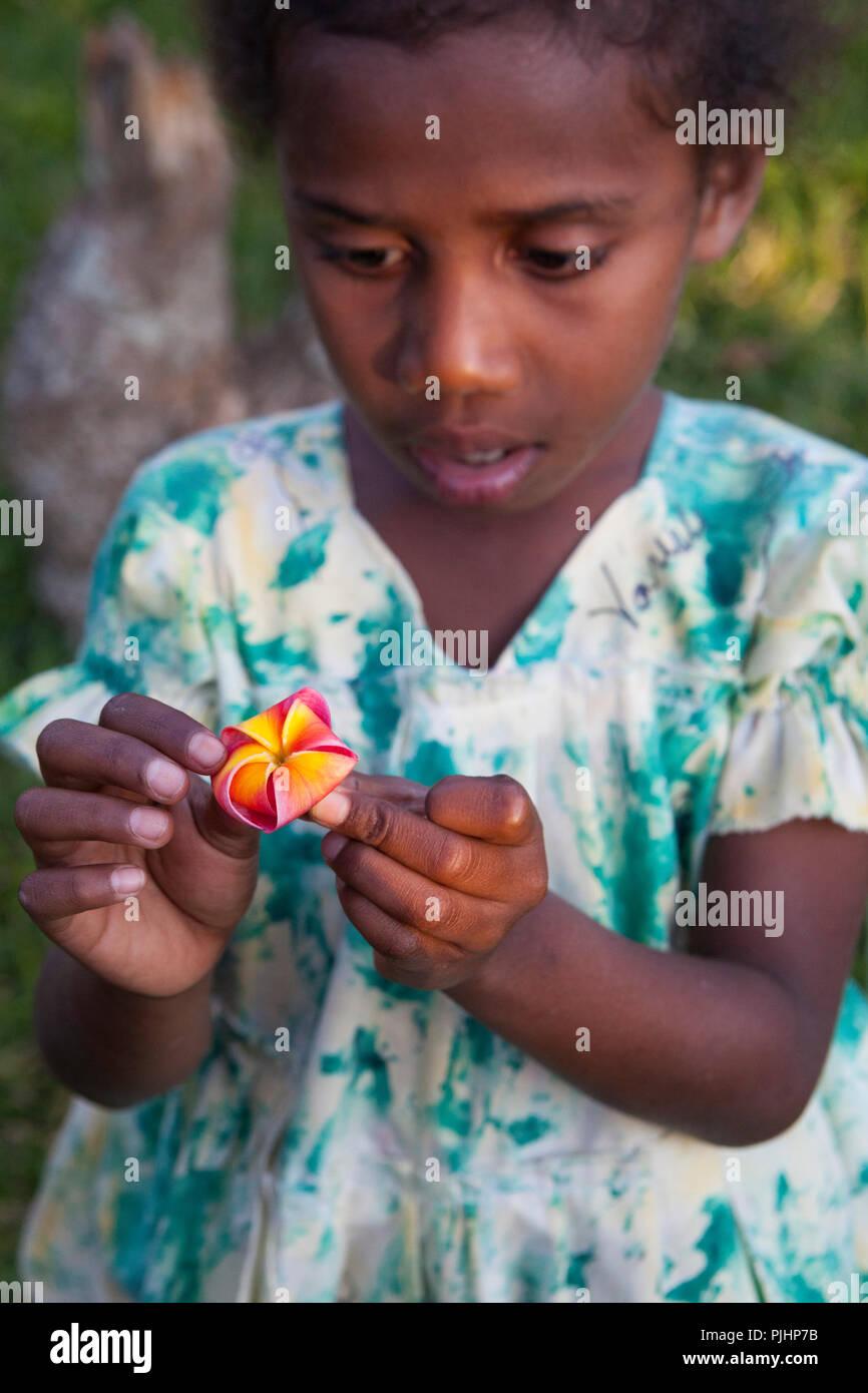 Report dayli life of Margret, 6 years old, Tanna island, Vanuatu - Stock Image