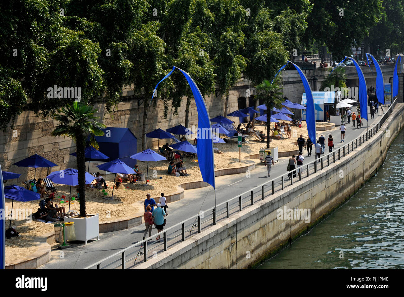 France, Paris City, Paris-Plage event, a beach summer on the banks of the Seine river. - Stock Image