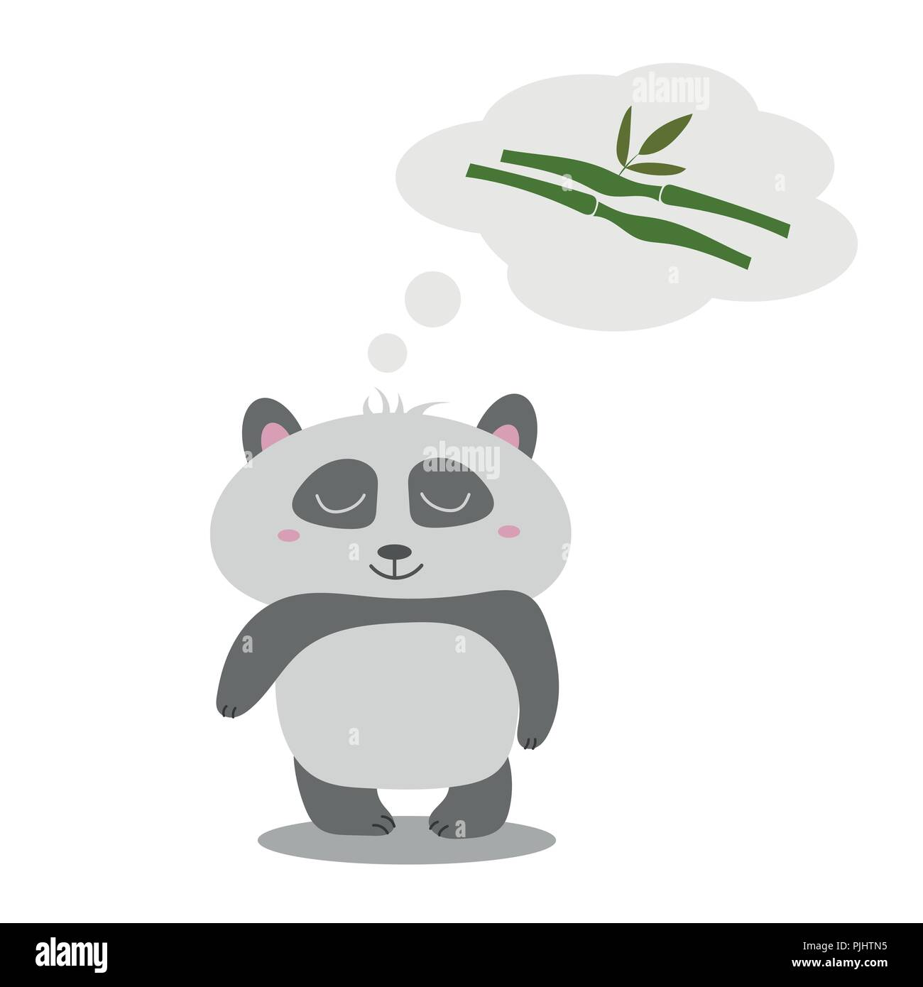 Little cute panda thinks of eucalyptus. The idea for greeting card - Stock Vector