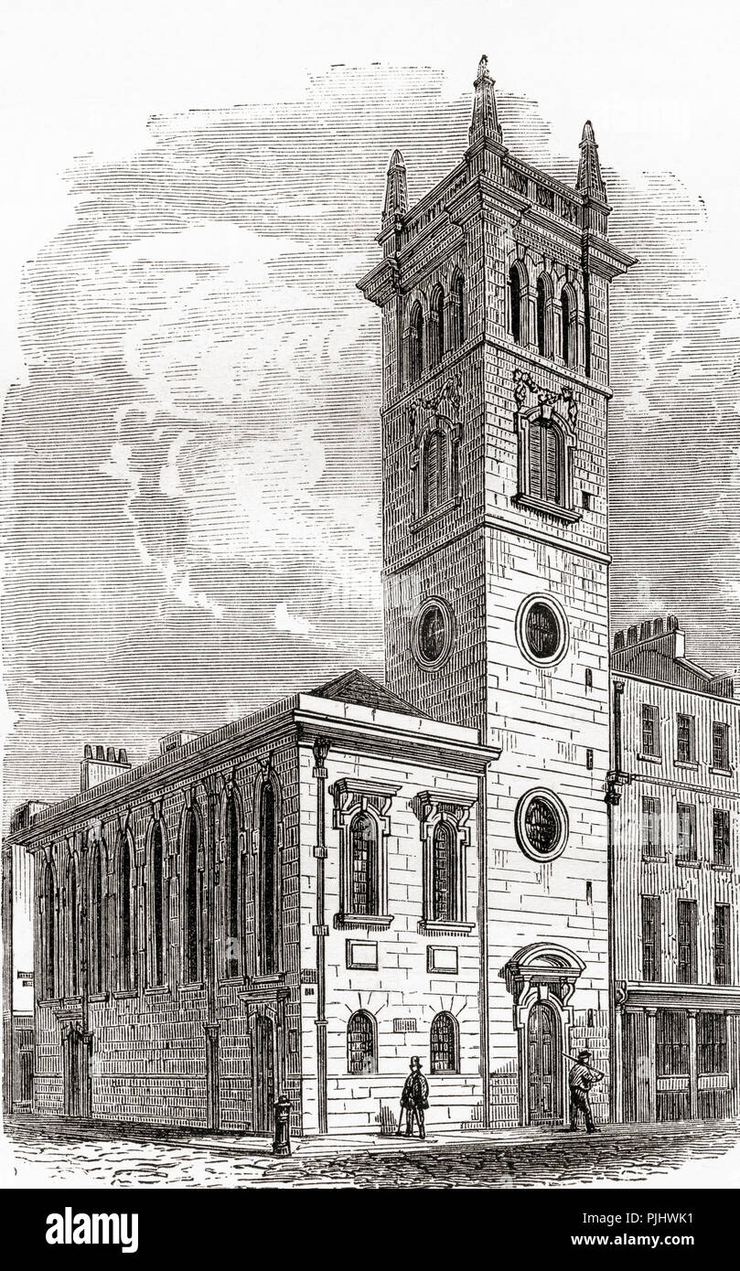 Church of All Hallows Bread Street, Bread Street ward, City of London, England, demolished in 1877.  From London Pictures, published 1890. - Stock Image