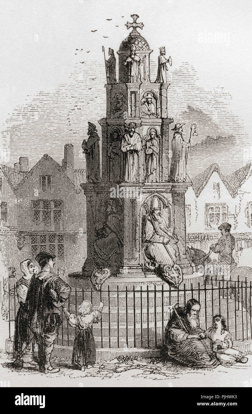 The Cheapside Cross, demolished in May 1643, London, England. From London  Pictures, published 1890.