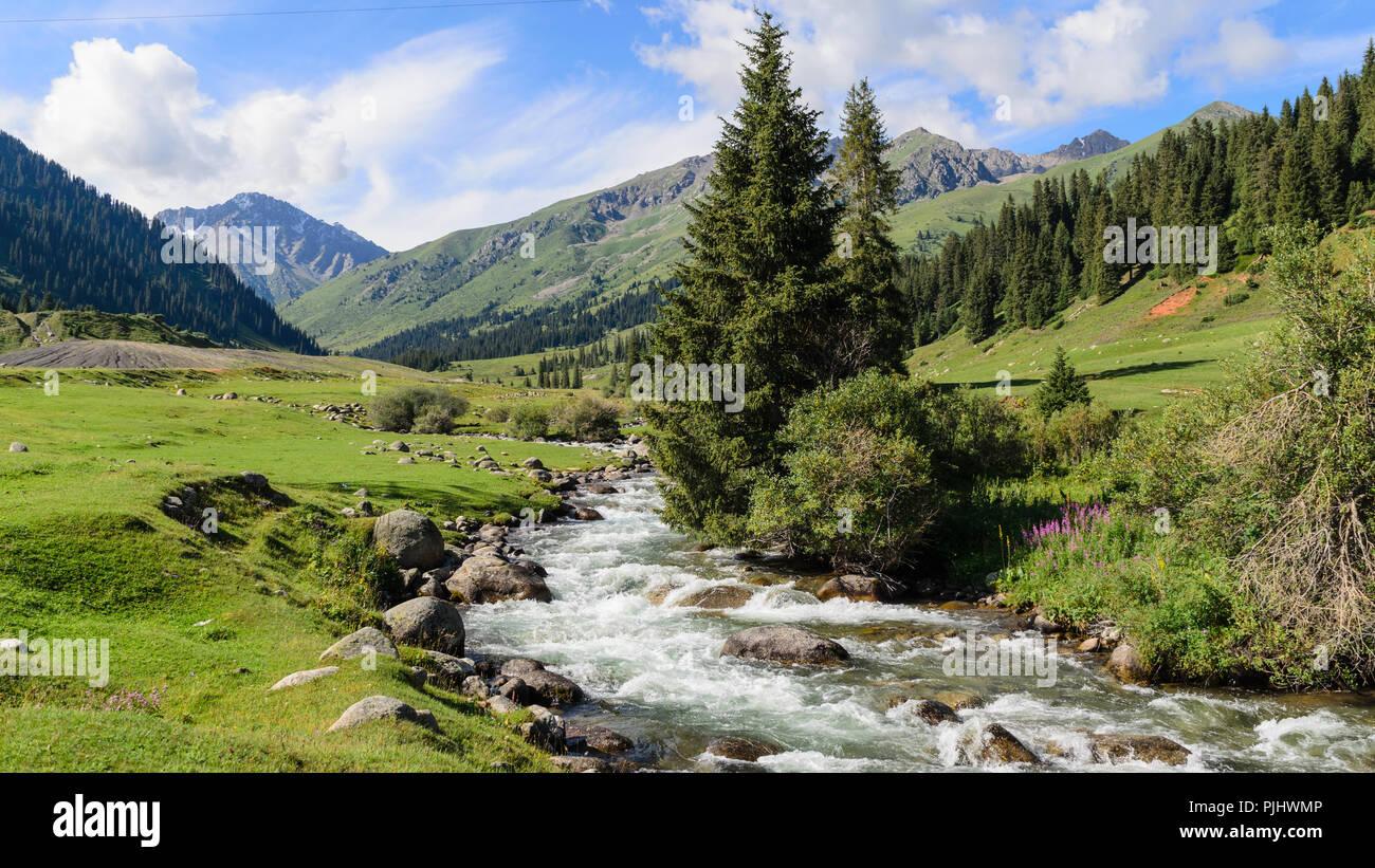 Summer view of the Jyrgalan Valley in Kyrgystan - Stock Image