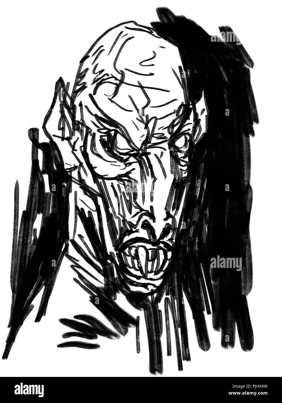 evil vampire illustration - Stock Image