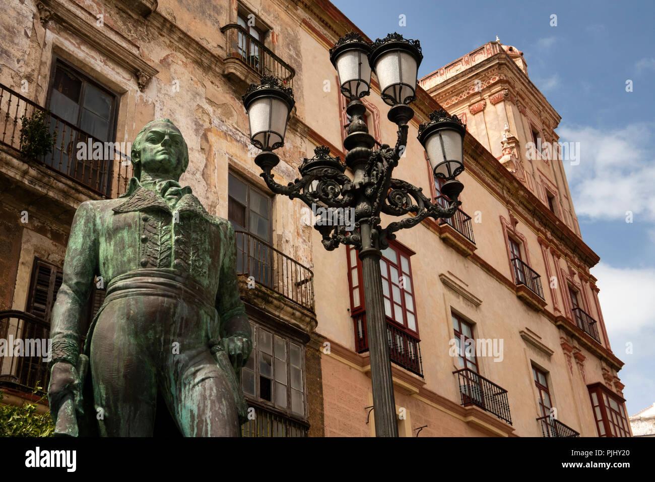 Spain, Cadiz, Statue of Francisco de Miranda, hero of American Independence, died in Cadiz 1816  - Stock Image