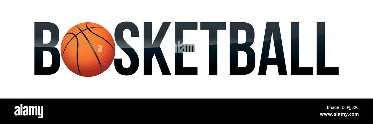 the word basketball with a realistic ball on a white background