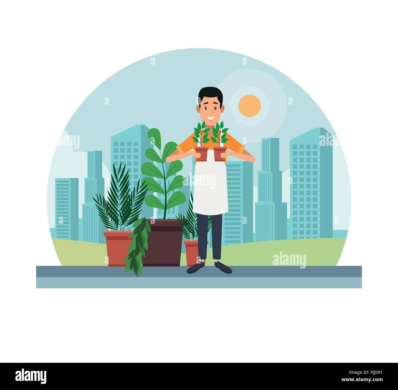 Gardening shopping at city - Stock Image