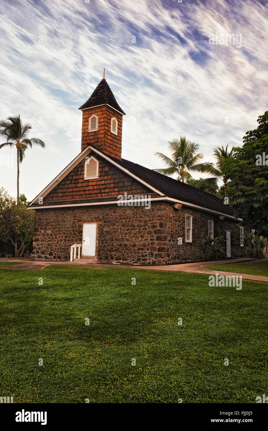 Keawala'i Congregational Church founded in 1832 on Hawaii's island of Maui. - Stock Image