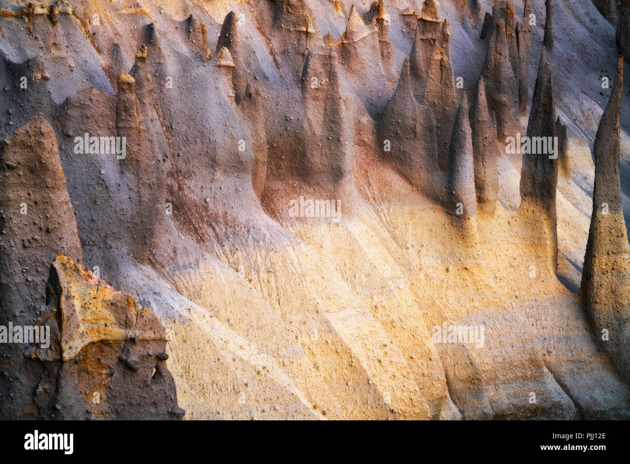 Pre dawn glow on the towering volcanic pumice spires know as The Pinnacles along Wheeler Creek in Oregon's Crater Lake National Park. - Stock Image