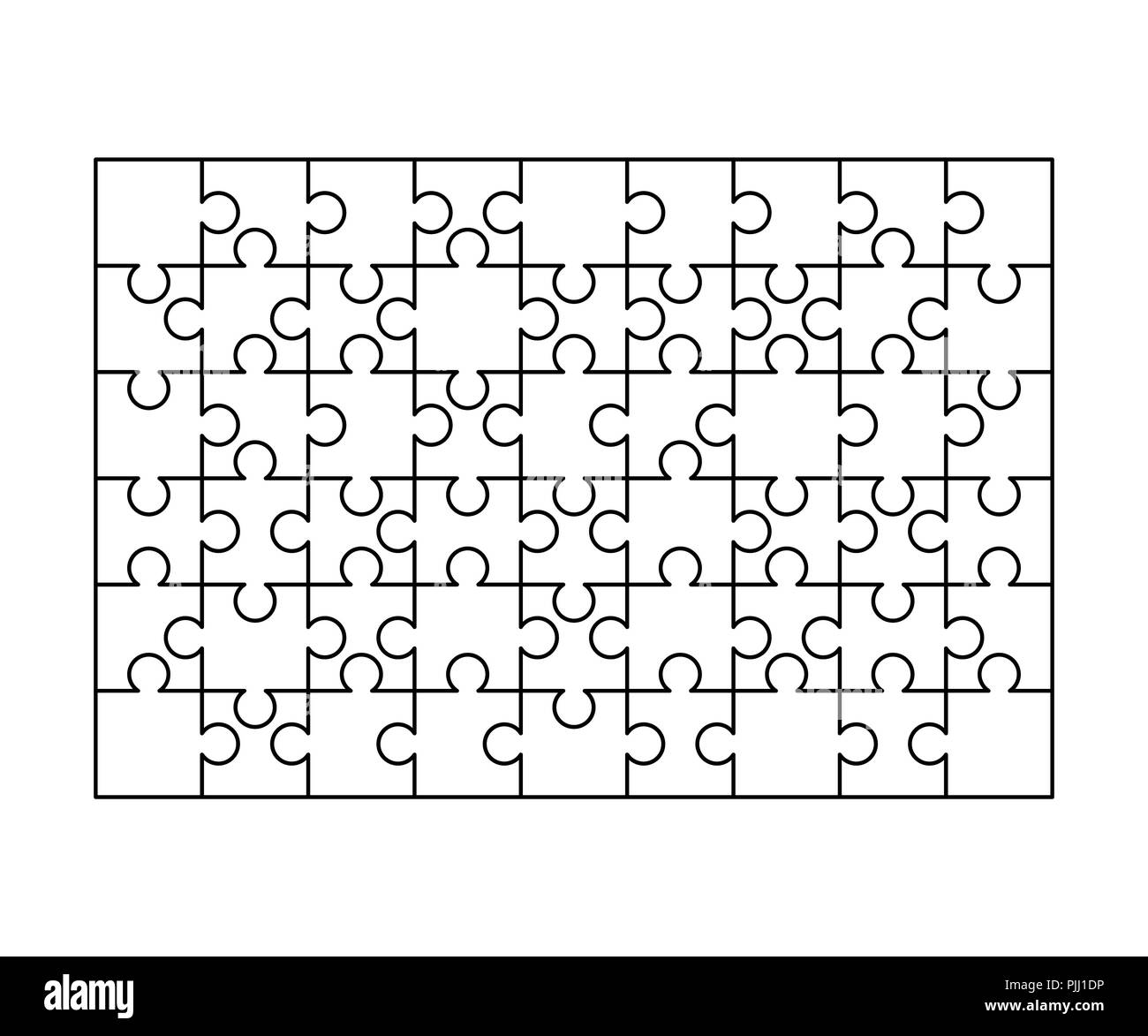 64 white puzzles pieces arranged in a square jigsaw puzzle template