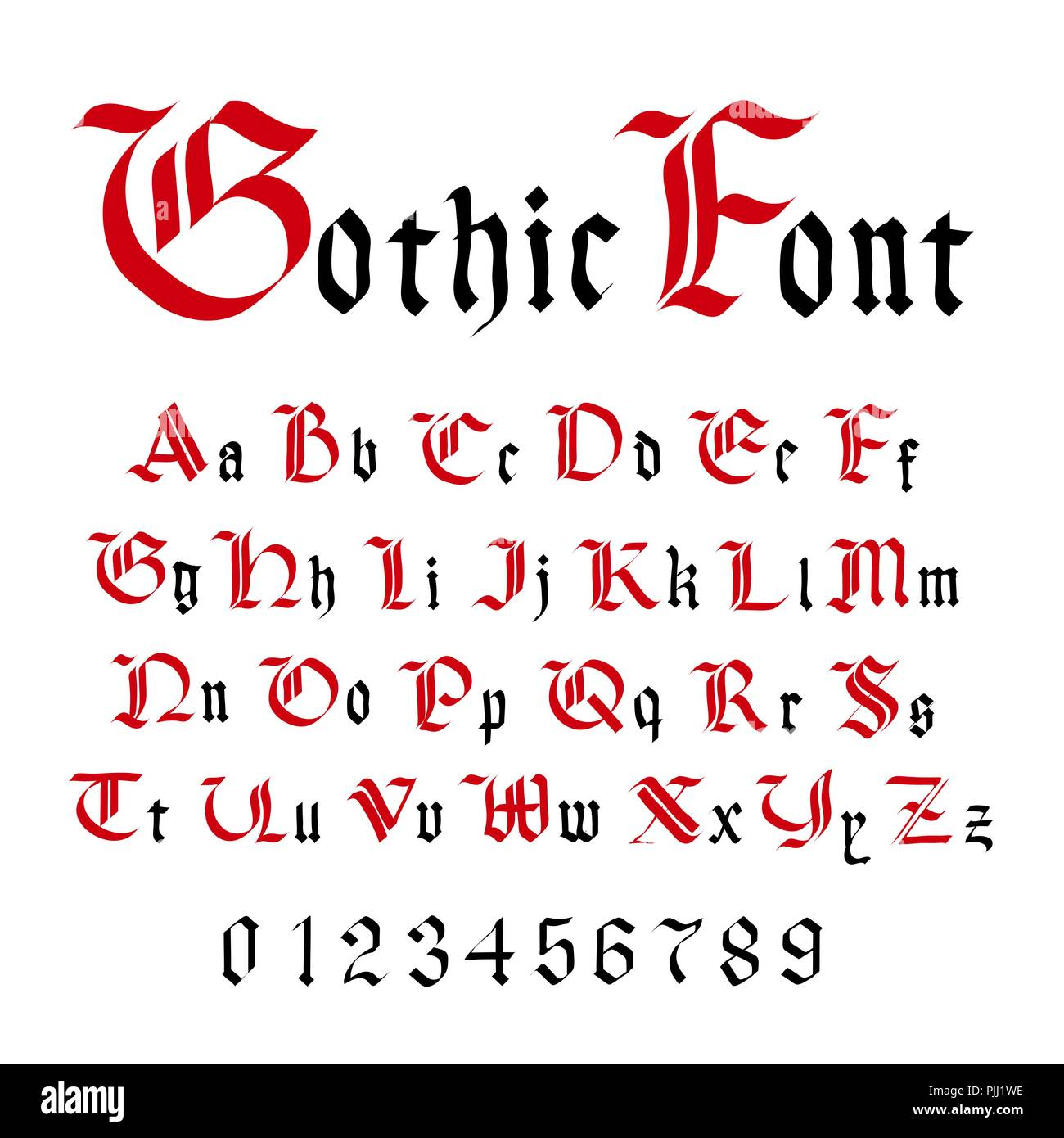 Classic Gothic Font, Set Of Ancient Letters Isolated On