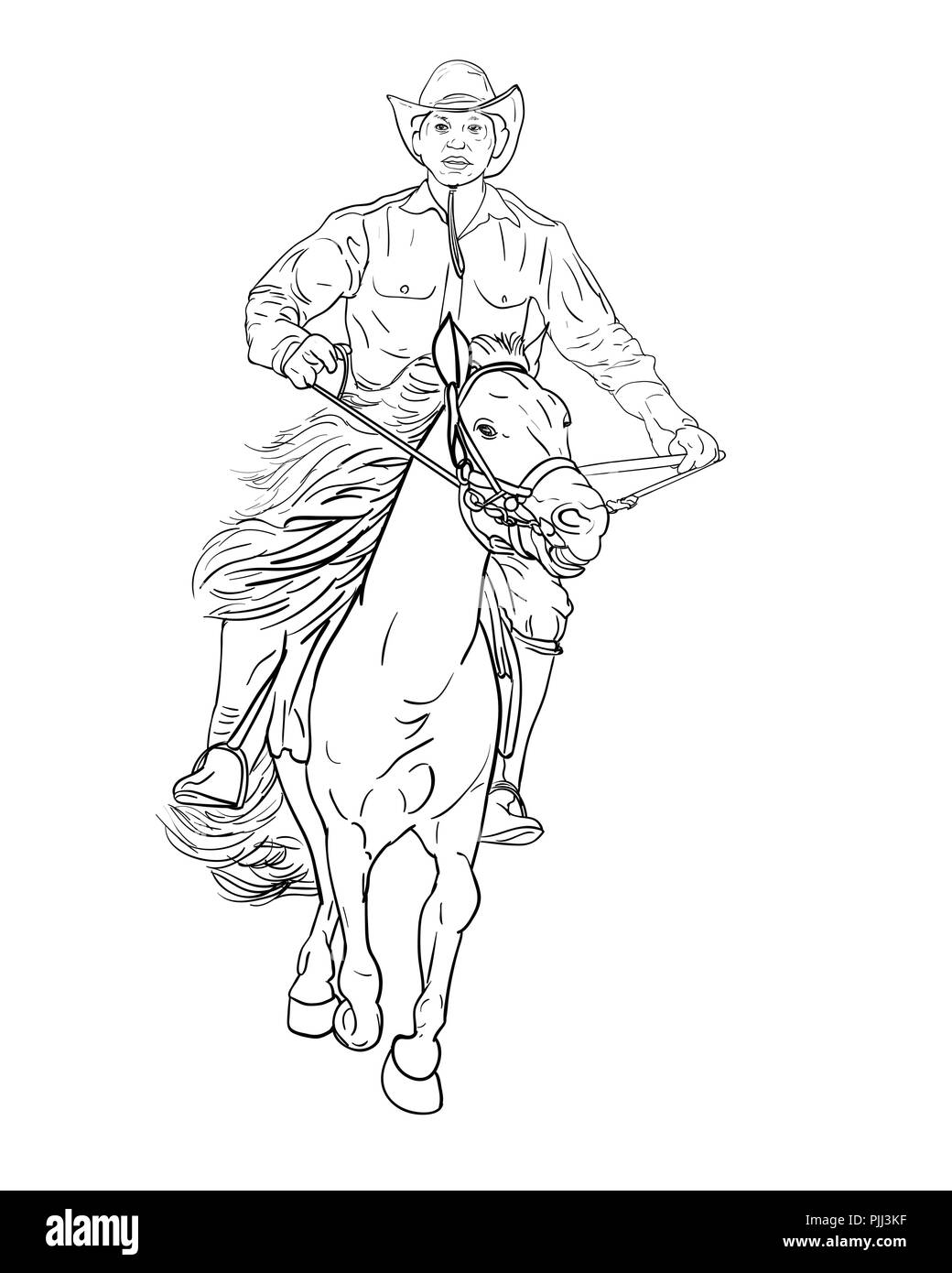 Drawing Black And White Of Cowboy Riding Horsevector Illustration