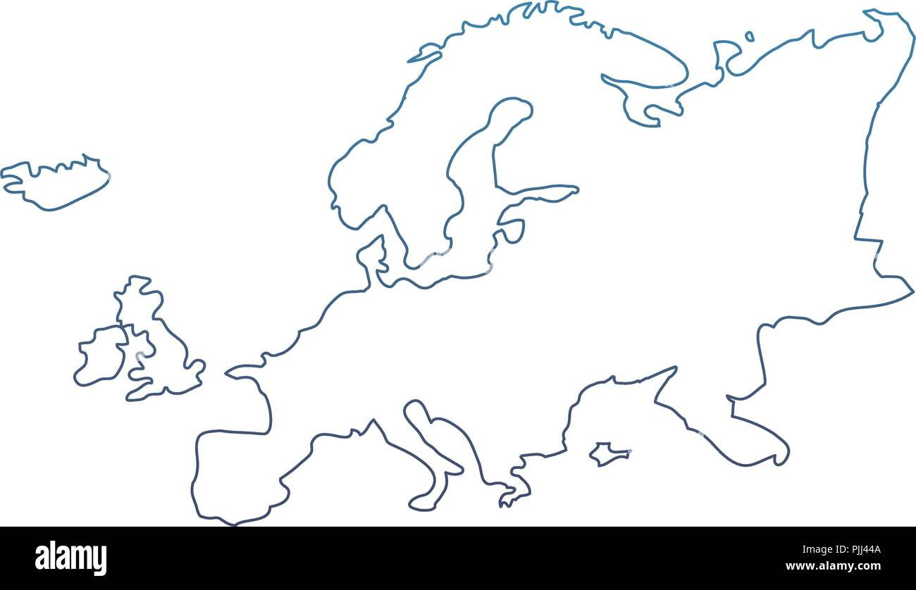 degraded line europe continent geography map design - Stock Image