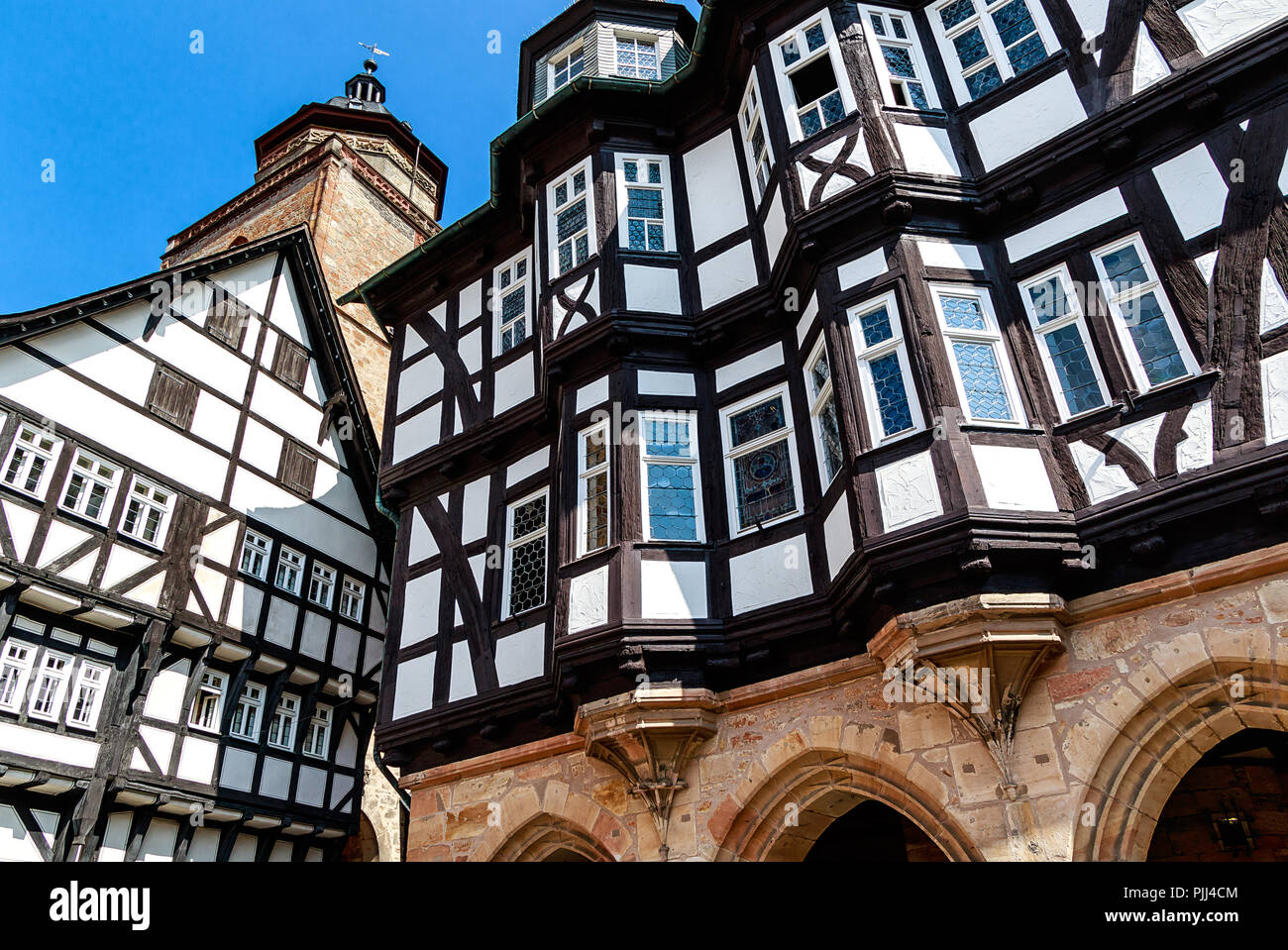 Medieval Town Hall (1512- 1516) in Alsfeld, Germany – This is one of most important German half-timbered town hall buildings. - Stock Image