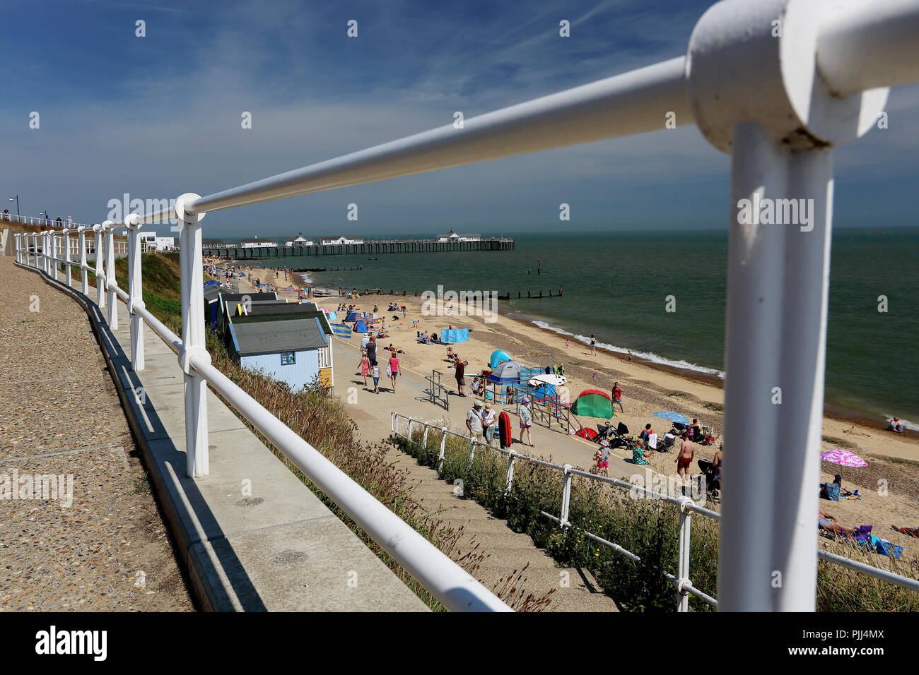 The beach and North Sea seen from the promenade at Southwold, Suffolk, UK - Stock Image