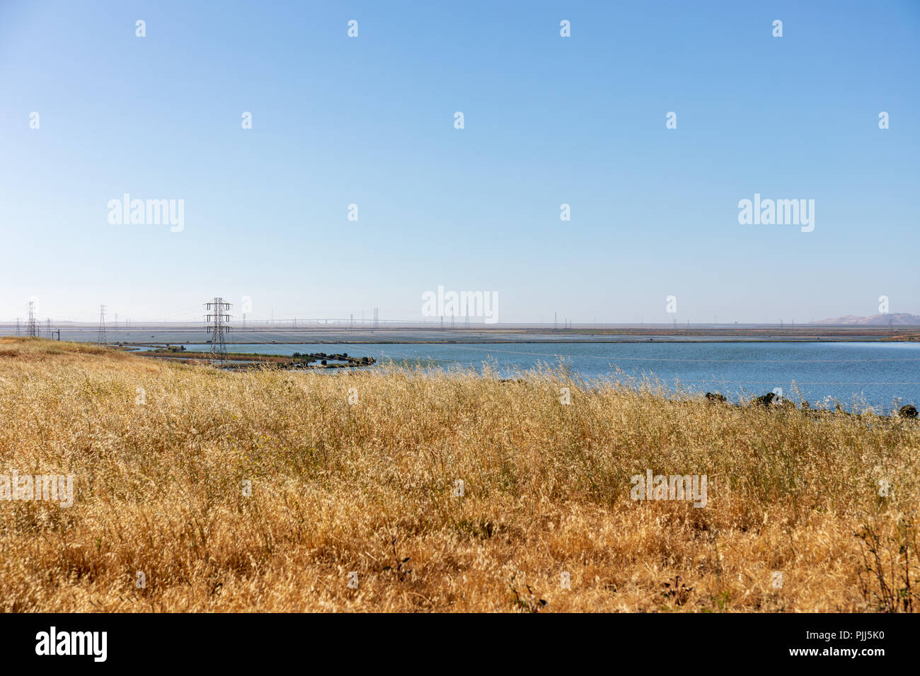 View over southern Bay Area from Sunnyvale Landfill; Sunnyvale, California - Stock Image