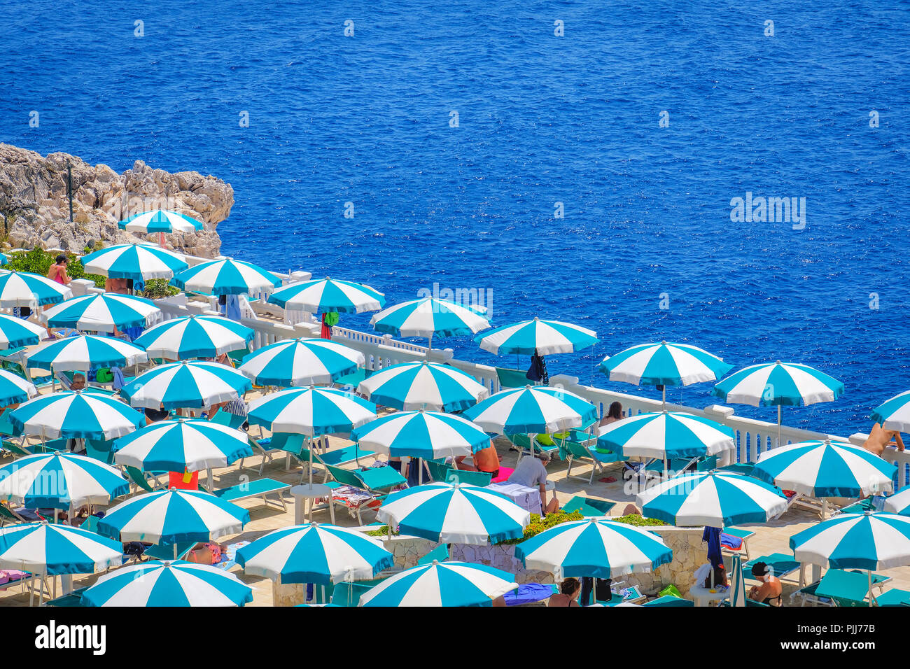 beach umbrellas top view aerial perspective - Stock Image