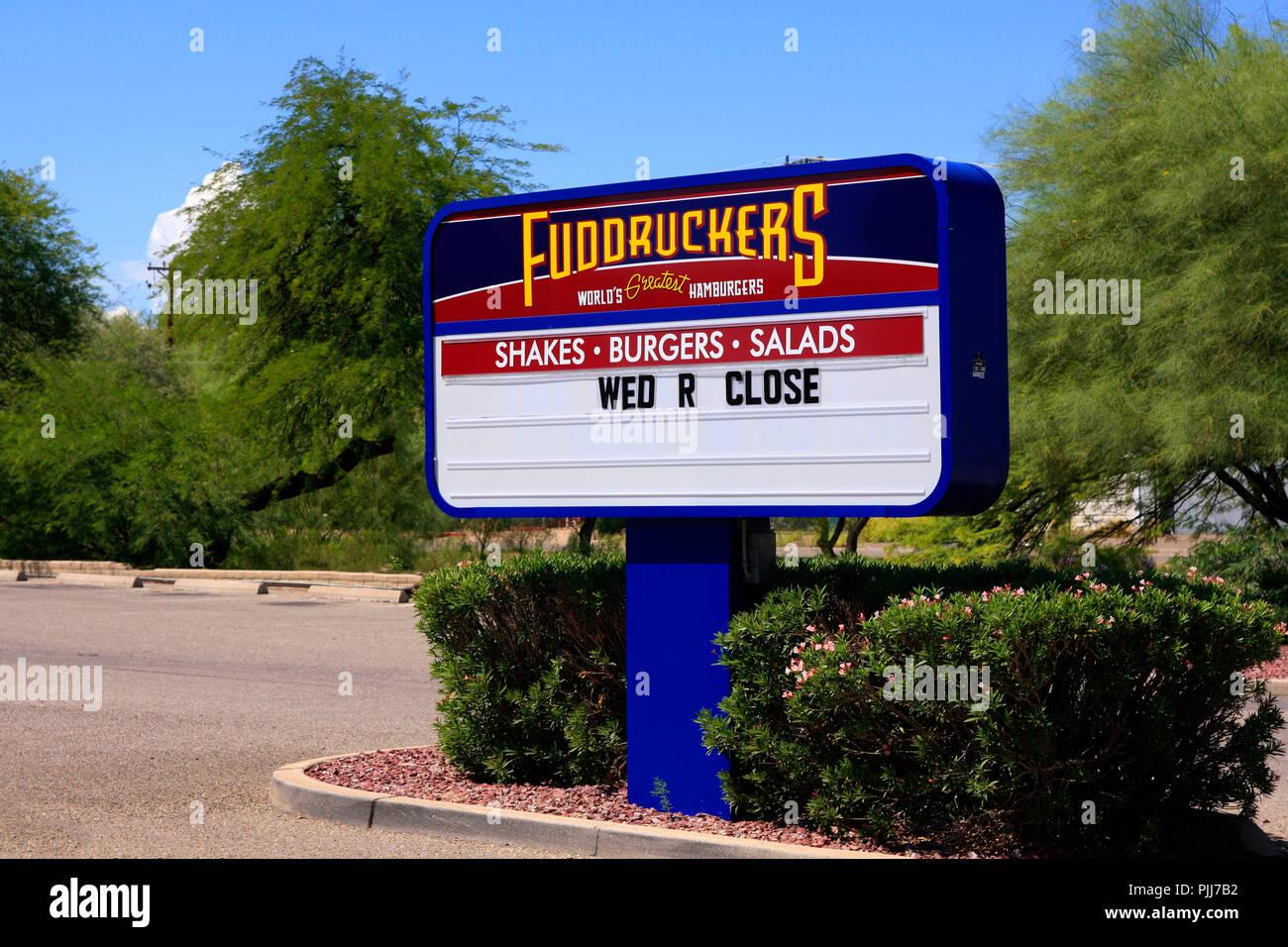 Fuddruckers American Fast Casual Hamburger Restaurant Sign