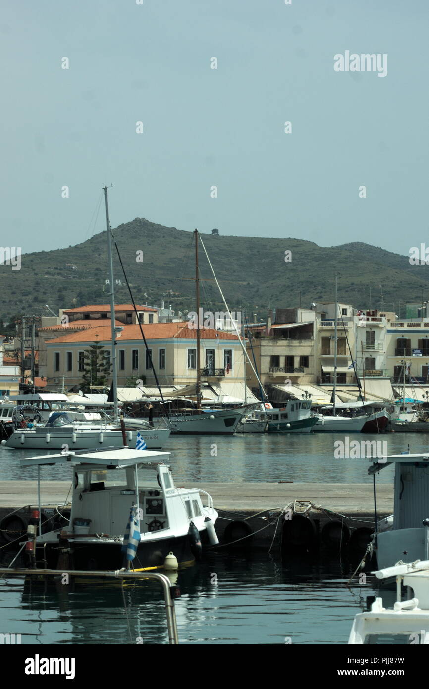 Greece, the island of Aegina. A view of the harbour. - Stock Image