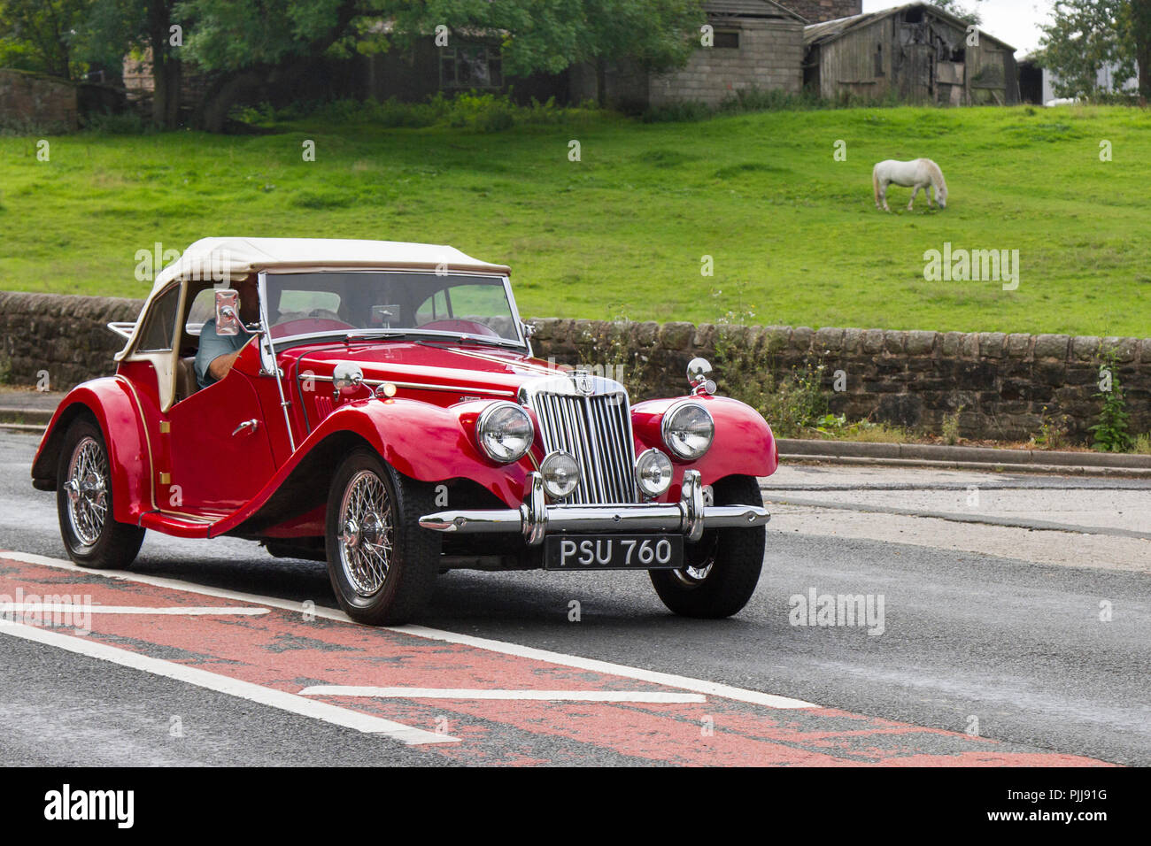 Red PSU 760 MG Classic, vintage, veteran, cars of yesteryear, restored collectibles at Hoghton Tower Class Cars Rally, UK - Stock Image
