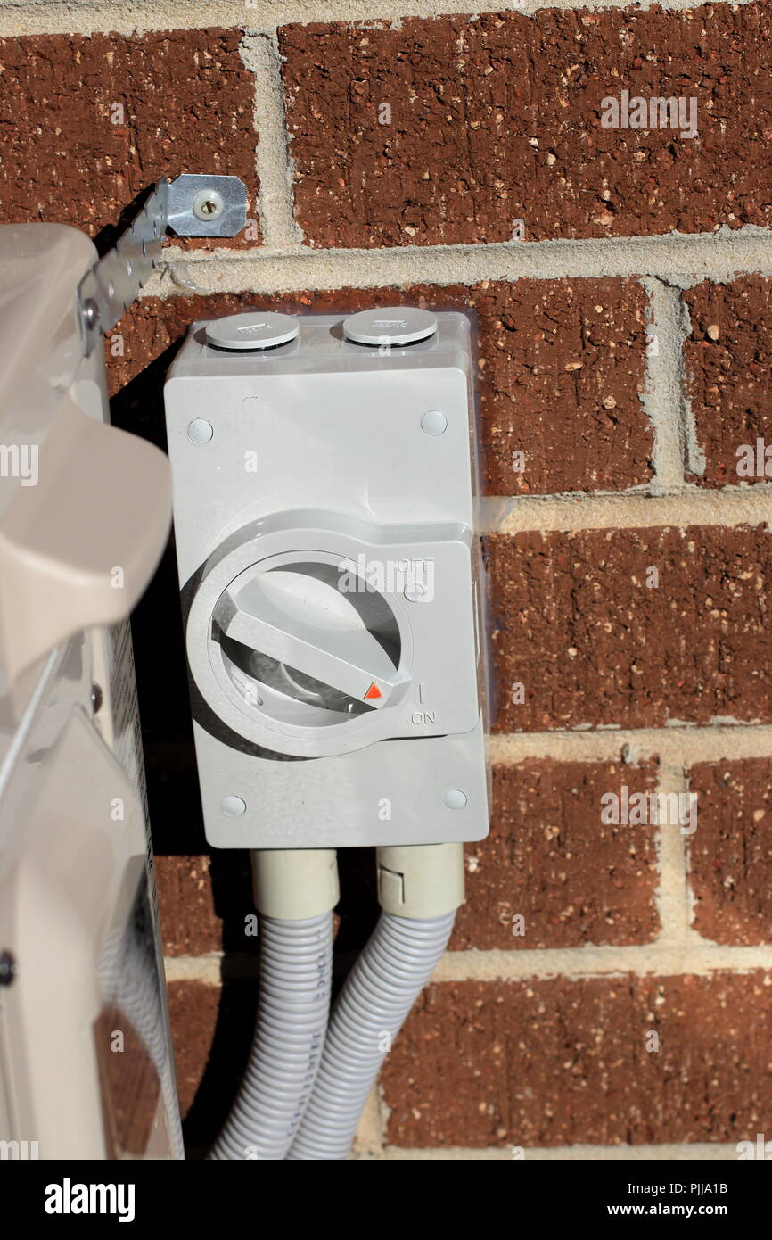 Outdoor switch for air conditioner Stock Photo
