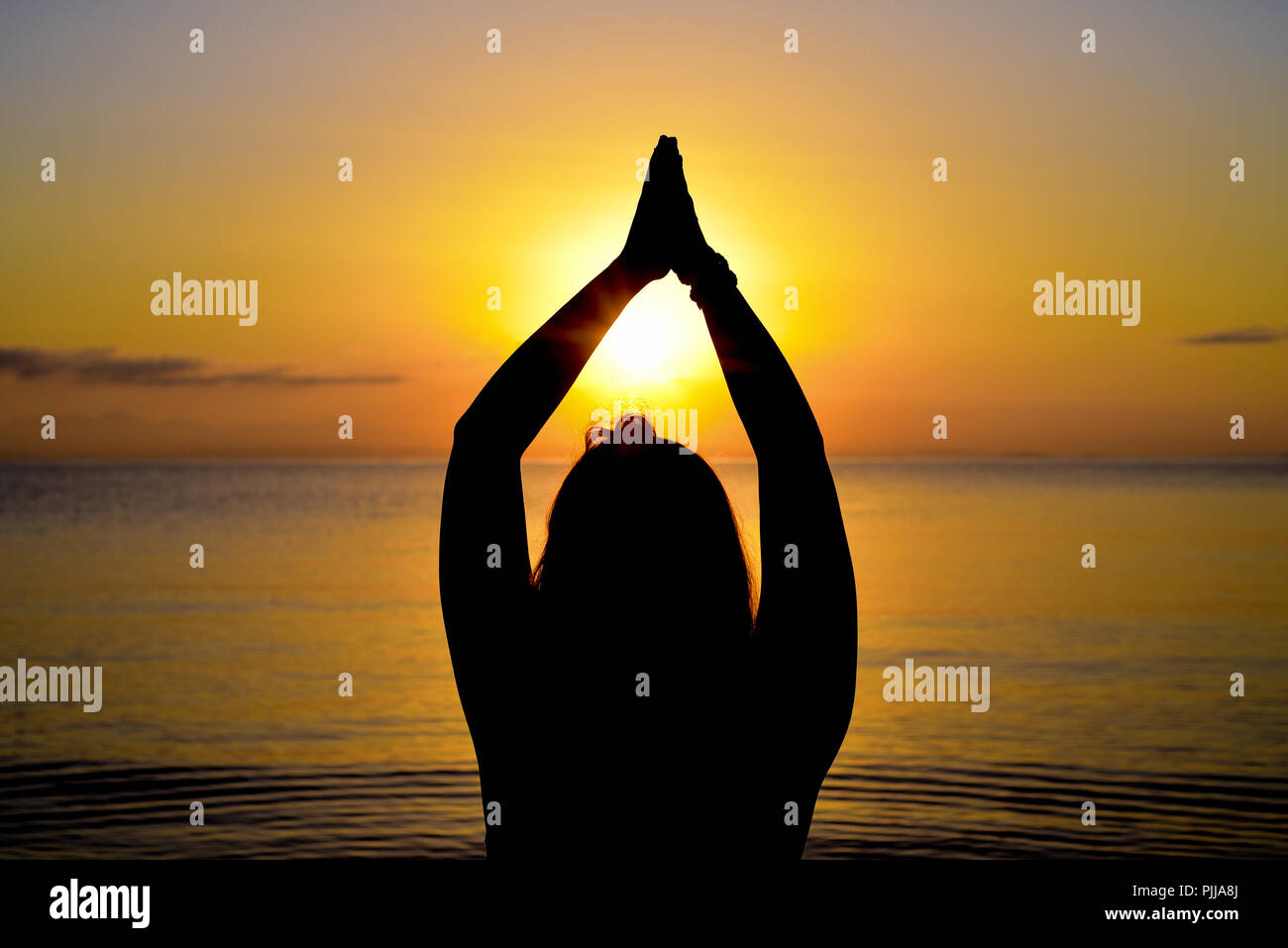 Yoga poses a tree in the sea at sunrise. Stock Photo