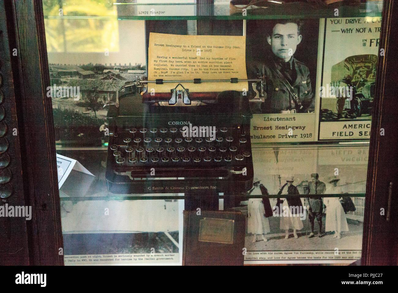 Key West, Florida, USA - September 1, 2018: Typewriter at Ernest Hemingway's House in Key West, Florida. For editorial use. Stock Photo