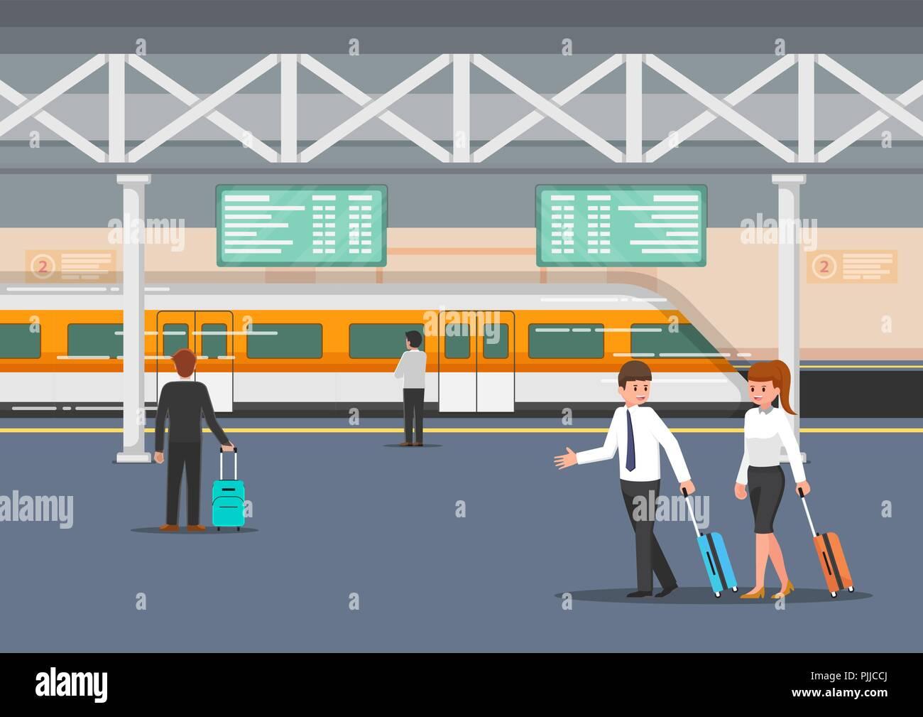 Business people in modern train station platform. Public transportation concept. - Stock Vector