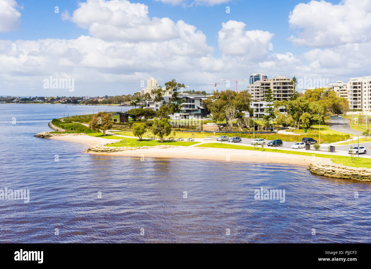Small man made sandy beaches at Point Belches at the end of Mill Point Road, South Perth, Western Australia - Stock Image