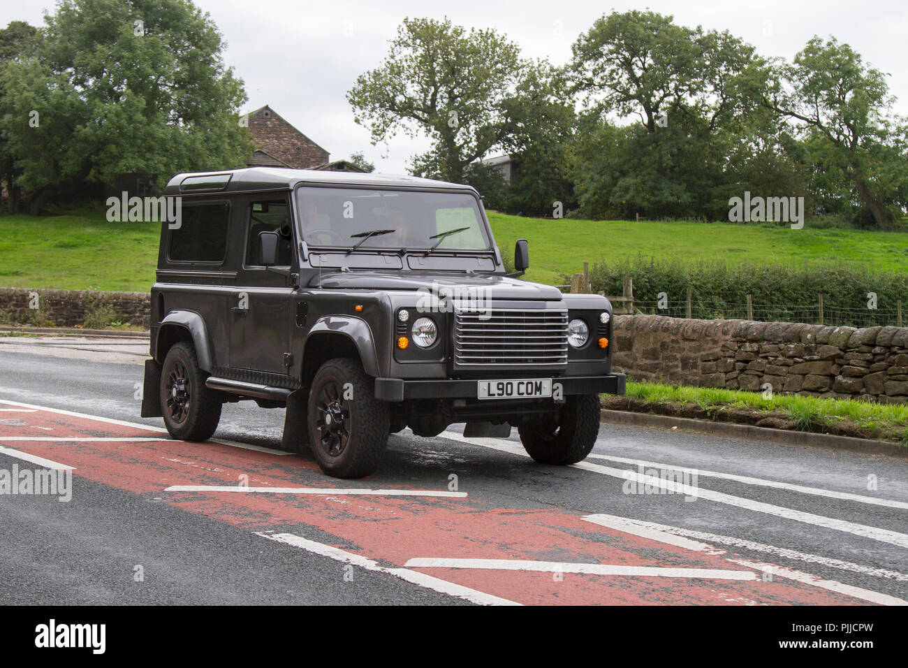2005 Land Rover Classic, vintage, veteran, cars of yesteryear, restored collectibles at Hoghton Tower Class Cars Rally, UK - Stock Image
