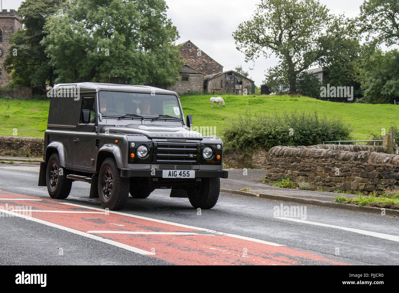 2011 Grey Land Rover Defender 90 Hard TOP TD Classic, vintage, veteran, cars of yesteryear, restored collectibles at Hoghton Tower Class Cars Rally, UK - Stock Image