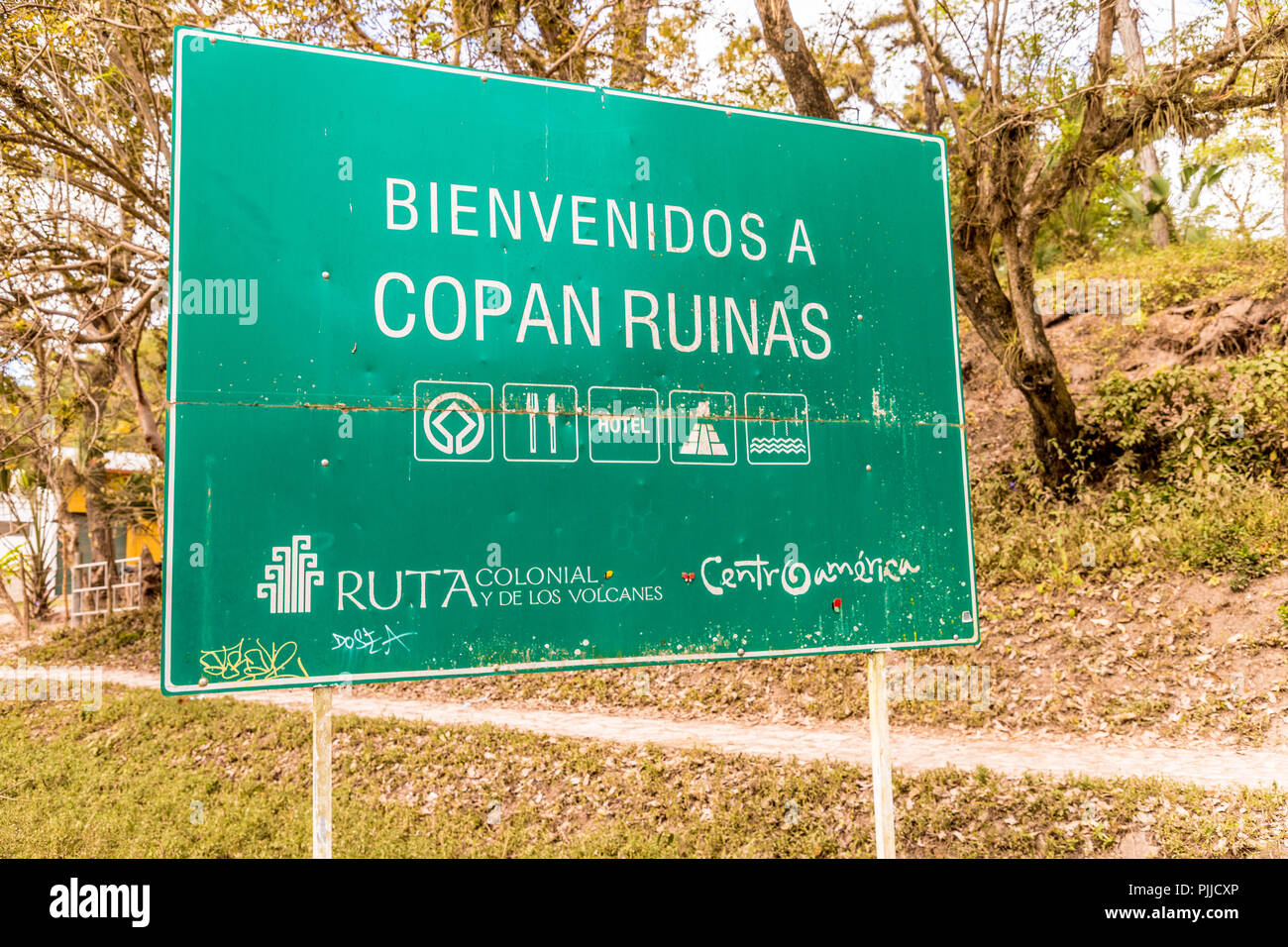 A typical view in Copan Ruins in Honduras - Stock Image