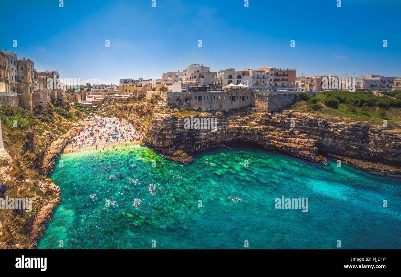 colorful south italy village in Puglia in the town of Polignano - Stock Image