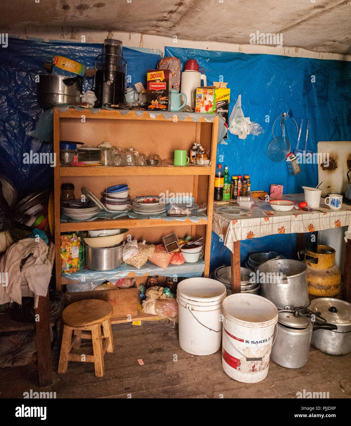 Interior of a bolivian house along the road to Oruro - Bolivia - Stock Image