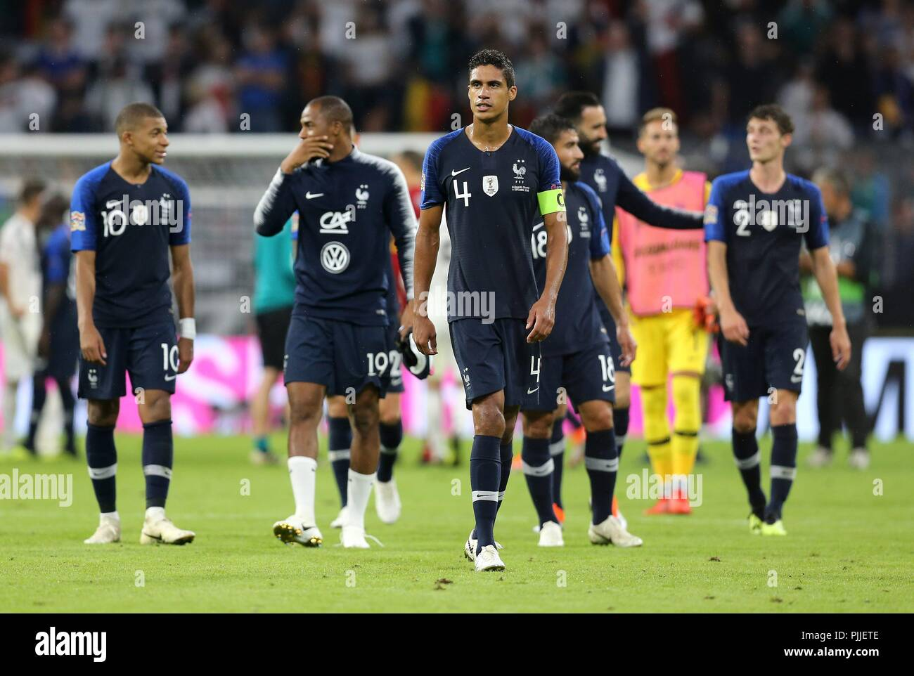 firo: 06.09.2018 Fuvuball, Soccer, National Team, Germany, UEFA, Nations League, Division A, League A, GER, Germany - FRA, France Raphael Varane, France, FRA, full figure | usage worldwide - Stock Image
