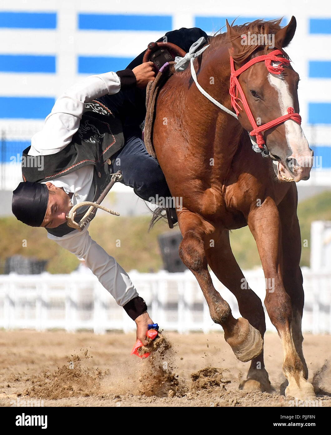 Cholpon Ata Kyrgyzstan 07th Sep 2018 Issyk Kul Region Kyrgyzstan September 7 2018 A Man Competes In A Trick Riding Event At The 2018 World Nomad Games Held In The Town Of