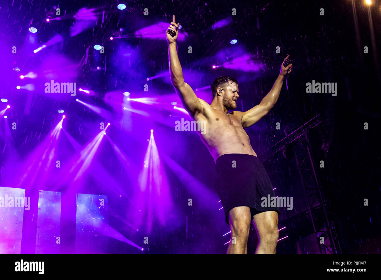 Milan, Italy, 6th September 2018: Imagine Dragons perform on stage at Milano Rocks in Italy, at Area Experience in Milan, for their Evolve World Tour 2018 - Valeria Portinari/Alamy Live News - Stock Image