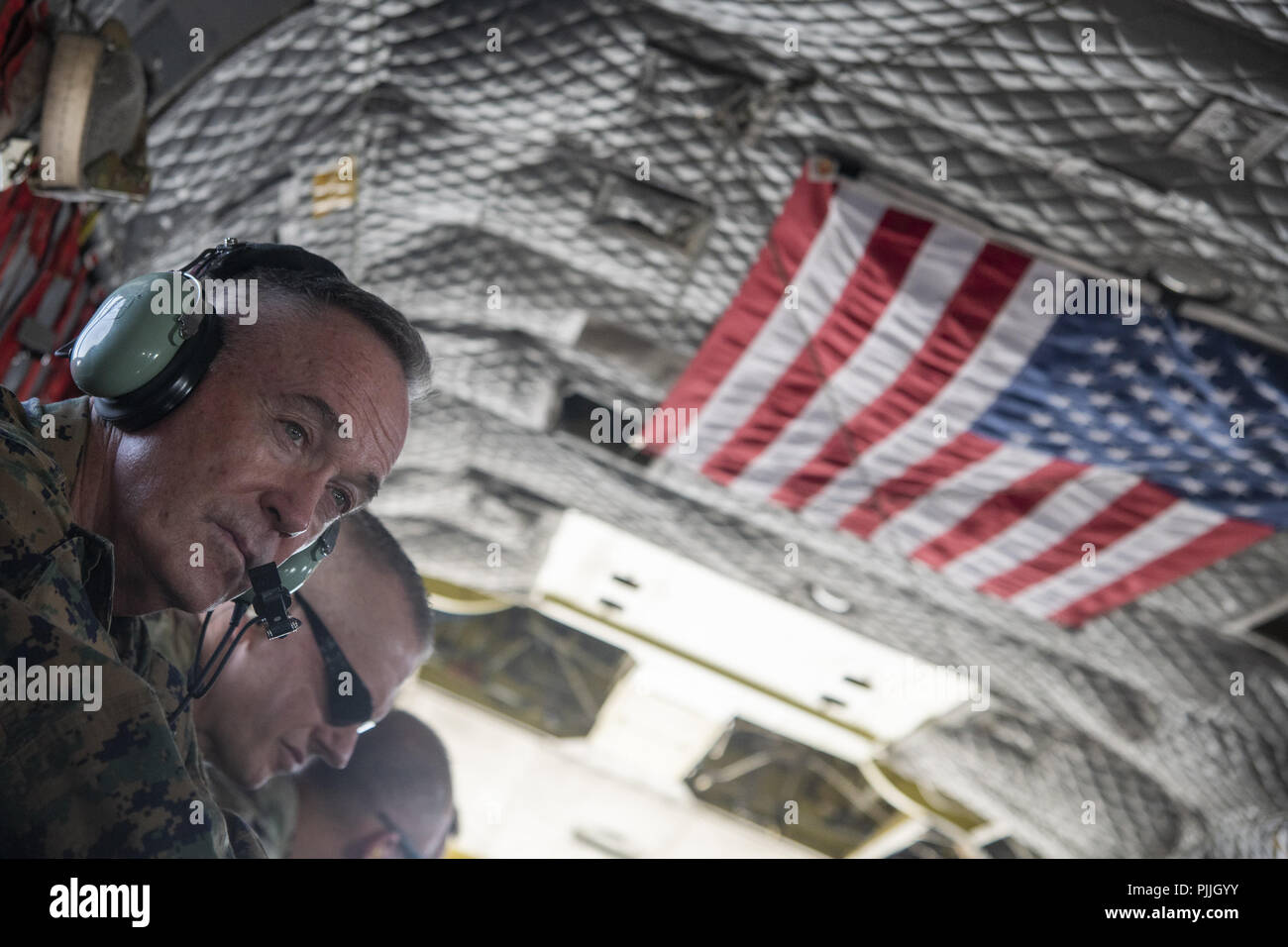 Marine Corps Gen. 6th Sep, 2018. Joe Dunford, chairman of the Joint Chiefs of Staff, rides aboard a CH-47 Chinook in Kabul, Afghanistan, Sept. 7, 2018. (DoD Photo by Navy Petty Officer 1st Class Dominique A. Pineiro) US Joint Staff via globallookpress.com Credit: Us Joint Staff/Russian Look/ZUMA Wire/Alamy Live News Stock Photo