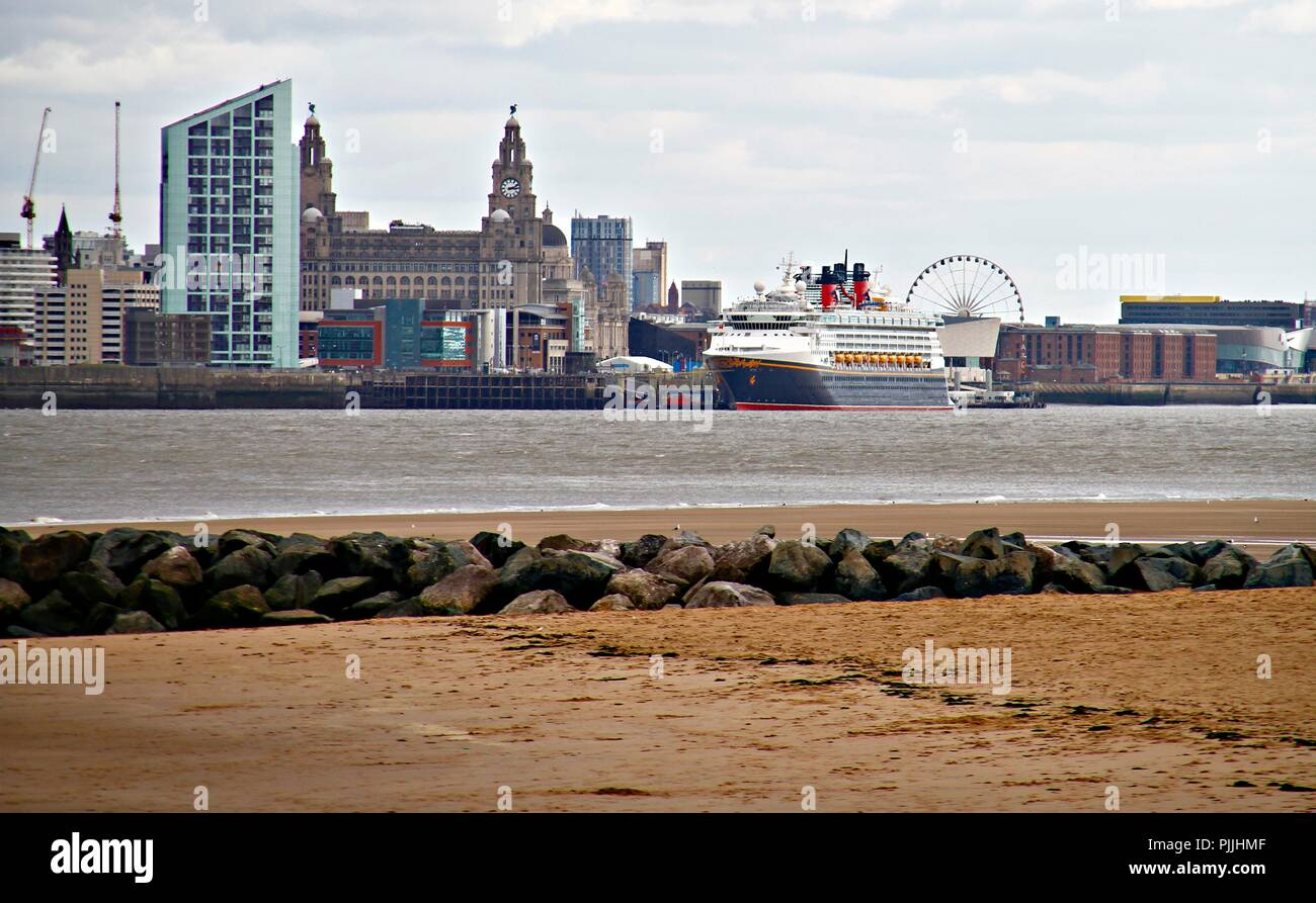 Liverpool, United Kingdom. 7th September 2018. The Disney Magic cruise ship leaves port of Liverpool, North west England on September 7th, 2018. (c) copyright Credit: Ian Fairbrother/Alamy Live News Stock Photo