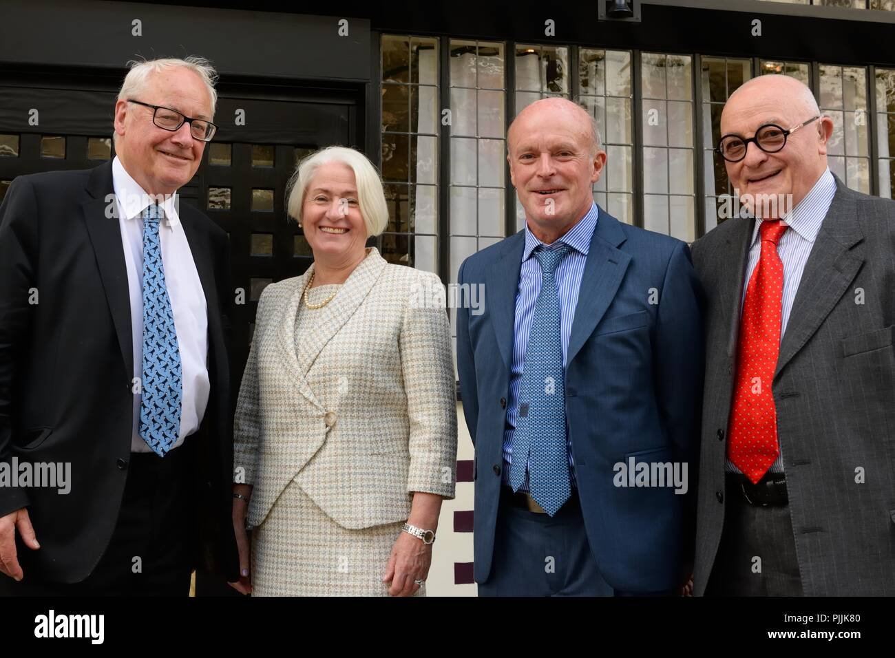 Glasgow, UK. 7th September, 2018. Sauchiehall Street Glasgow, Scotland, UK. Glasgow businesswoman Celia Sinclair and fellow investors after the Royal visit to the Willow tearooms today at which the Duke of Rothesay placed a wood carving in the restaurant designed by Charles Rennie Mackintosh. Stock Photo