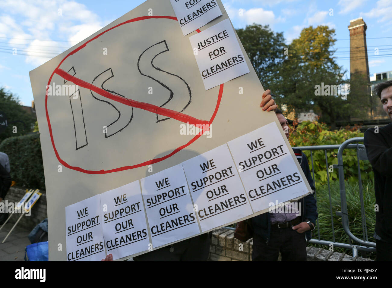 London, UK. 7th Sept 2018. Demonstration outside the Goldsmith Gallery calling for cleaners to be taken in house and end their ongoing problems with current employer ISS. Penelope Barritt/Alamy Live News Stock Photo