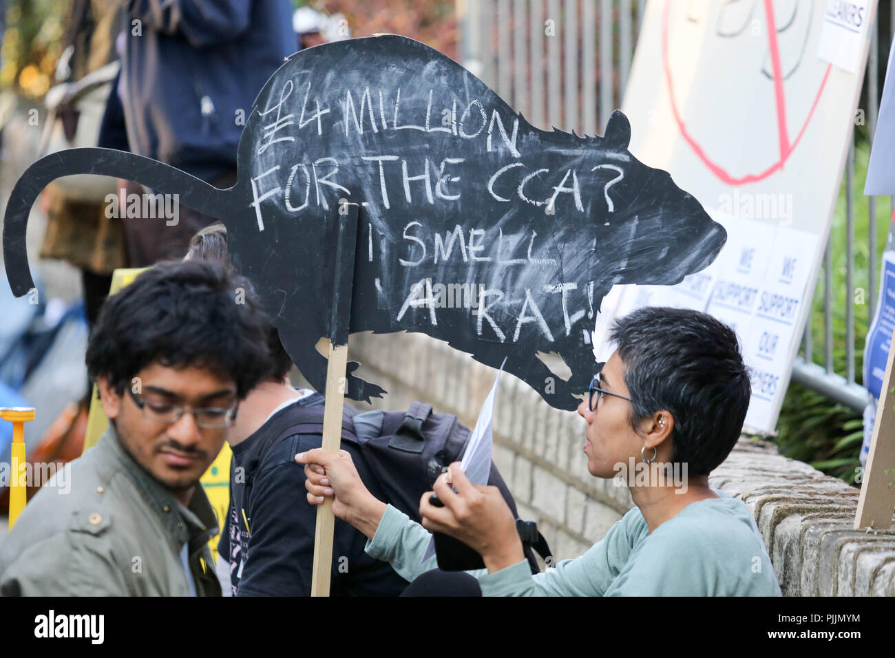 London, UK. 7th Sept 2018. Demonstration outside the Goldsmith Gallery calling for cleaners to be taken in house and end their ongoing problems with current employer ISS. Penelope Barritt/Alamy Live News - Stock Image